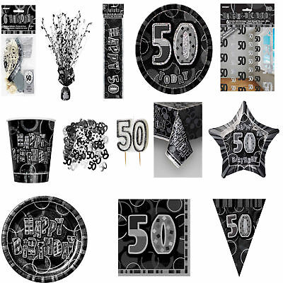 Glitz Black/Silver 50th Birthday Party Tableware Decoration Plates Banners Age50