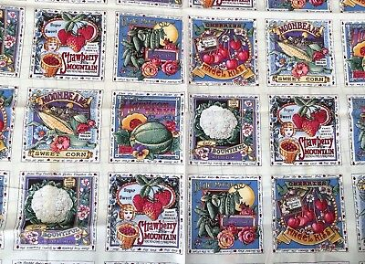 Vintage Fabric Secrets of the Garden Seed Packet Flower Fruit Squares Panel