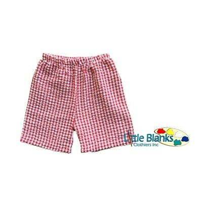 Boys Red Gingham Shorts Pull On 3 6 9 12 18 mths months 2T 3T 4T 5T Applique NEW
