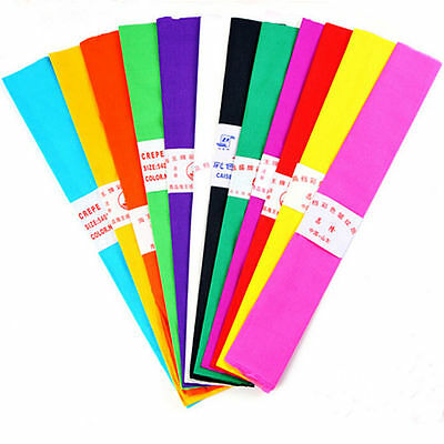 """10X Coloured Crepe Paper Roll Sheets Coloured Craft Paper Florist Paper 35""""x21"""""""