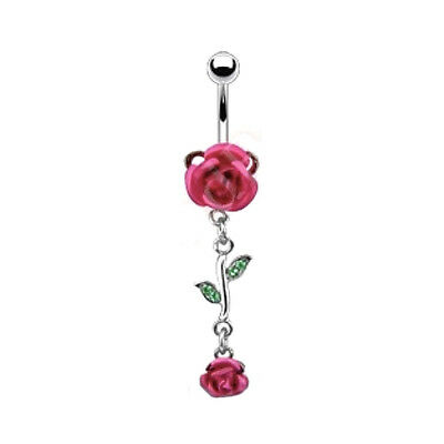 Belly Button Ring Beautiful Pink Roses 14g Stainless Steel Dangle Navel Piercing