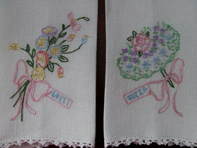 Ser of 2~Sweet GUEST Linen Towels~Hand Embroidered Floral Bouquets Posy w/Bows
