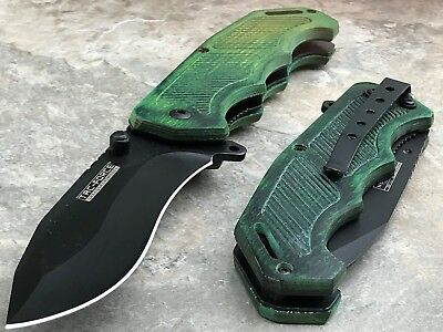 "8"" TAC FORCE RAZOR SHARP Spring Assisted Open Folding Pocket Knife Green Handle"