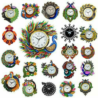 Analog Wall Clock Hand Painted Home Decoration Peacock Wooden Wall Clock