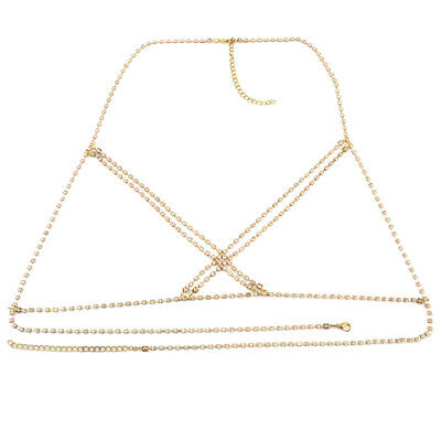 Silver/Gold Body Chain Crossover Crystal Belly Chains Necklace Jewelry for Women