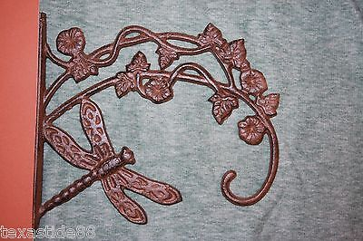 (1) Cast Iron Plant Hanger Yard And Garden Dragonfly Decor Large Hanger, S-26