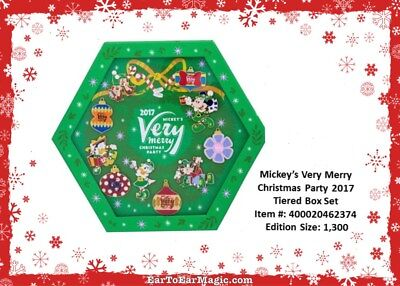 Disney Mickey's Very Merry Christmas Party 2017 Pin Box Set Limited Edition 1300