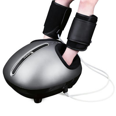 Shiatsu Foot Massager Machine with Heat Deep Kneading Air Compression Calf Grey