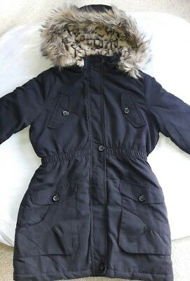 Girls Parka Coat with Leopard Fur Hood Rim_By Brave Soul_11-12 Yrs-B/New-JACKETS