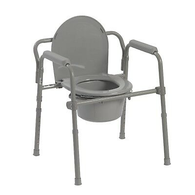 Drive Medical Steel Folding Bedside Commode, Portable Outdoor Camping Toilet New