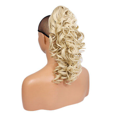 "17"" PONYTAIL Clip in Hair Extensions CURLY Lightest Blonde #60 Claw Clip"