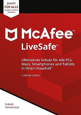 McAfee LiveSafe 2019 Unlimited PC / Geräte / 1Jahr Vollversion Antivirus