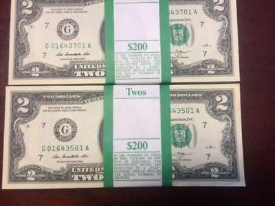 100 BRAND NEW-- UNC 2 Two Dollar Bills BEP Pack 2013 Bank of Chicago !