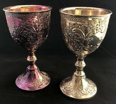 Corbell & Co. Wine Chalice Goblet Silver Plate Hallmarked Nice Toning Embossed ~