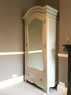 French vintage mirrored shabby chic painted wardrobe