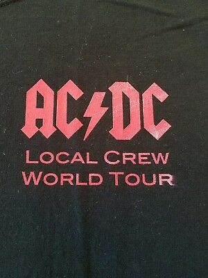 NWOT Size XL Rare Vintage AC/DC - Local Crew - World Concert Tour Black Shirt
