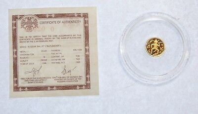 1996 RUSSIAN Ballet Series Nutcracker PROOF GOLD 10 Roubles Coin 1.56g with COA