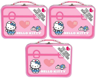 3- kIDS HELLO KITTY 75 Piece First Aid Kit With Collectible Tin Case
