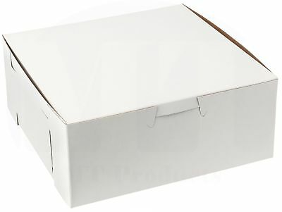 """MT Products 6"""" x 6"""" x 4"""" Paperboard White Non-Window Bakery Box (15 Pieces)"""