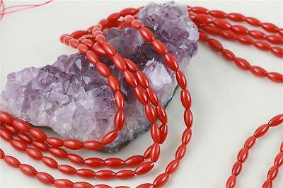 """4x9mm Rice Red Sea Bamboo Coral Gemstone Loose Beads 16"""""""