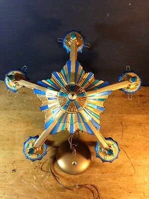 Antique CAST IRON 5 light ART DECO chandelier Blue turquoise Gold Glam Medium