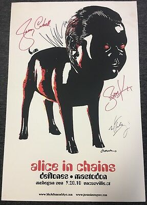 Alice in Chains Signed Uncasville, CT 2010 Tour Poster Lithograph Autographed!