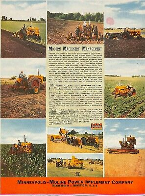 Large 1947 Minneapolis Moline Tractor & Combine & Hay Baler Ad Advertisement