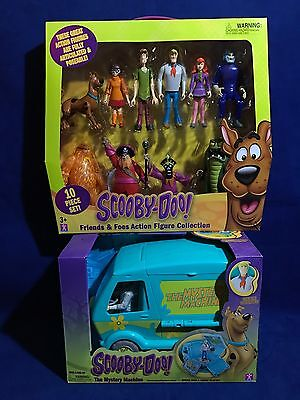 Scooby Doo FRIENDS & FOES 10 Action Figures + MYSTERY MACHINE Shaggy 5 VILLAINS