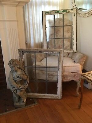 Pair Of Antique Leaded Glass Windows Architectural Salvage Garden Chippy Paint