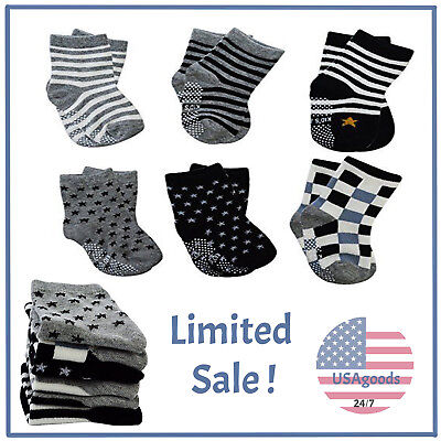 6 Pairs Assorted Anti Slip Ankle Cotton Socks with Grip Baby Toddler Non-skid