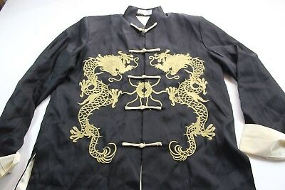 Laogudai Embroidered Oriental Dragon Gold Knot Tie Jacket Coat Large Slim