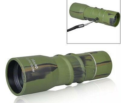 Monocular Telescope 16X40 Zoom Lens Army Green Rubber Coated 131M/1000M Scope