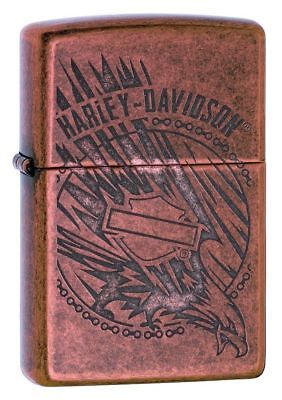 Zippo Harley Davidson Copper Lighter With Etched Eagle & Logo, 29664, New In Box