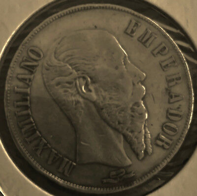 1866 Go MEXICO 1 PESO SILVER COIN EMPIRE OF MAXIMILLIANO VERY RARE