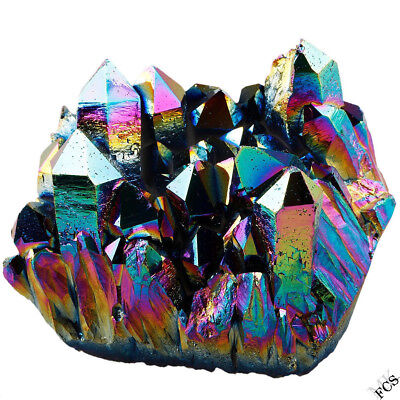 Titanium Coated Drusy Crystal Quartz Geode Rock Cluster Home Decor Display
