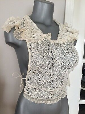 Vintage EMBROIDERED LACE DICKIE 1920's 1930's Antique Jami Art Deco Blouse Dress