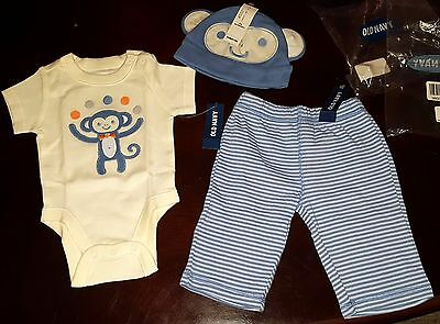 Matching 3 piece set, Old Navy, infant, monkey, hat, pants, oneZEE, 0-3 months