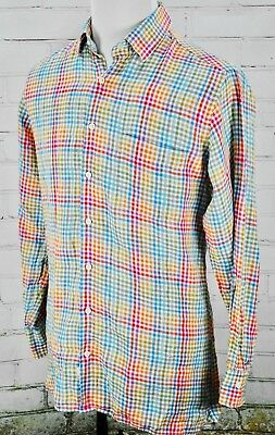 Peter Millar 100% Linen Plaid Pattern Button-Down Shirt Medium Pink/Blue/Green