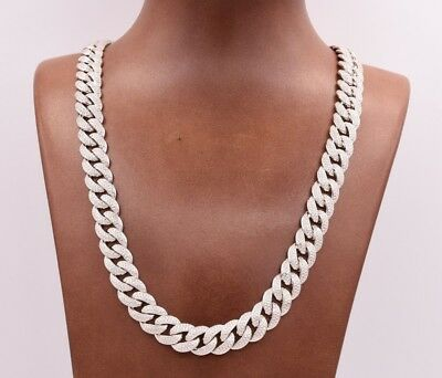 12mm Miami Cuban Curb Link CZ Chain Necklace Real Solid Sterling Silver 925