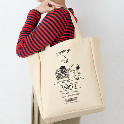 Snoopy Peanuts Canvas Tote Shoulder Shopping Bag Shopping Cart