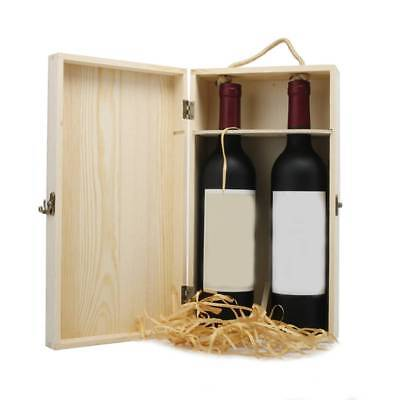 Wooden Two Wine Box Bottles Packing Carrier Case Christmas Xmas Birthday Present