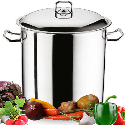 Gastro Large Deep Stainless Induction Steel Stock Pot Casserole Stockpot