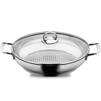 5L Stainless Steel Roasting Shallow Pot Casserole with Glass Lid Induction Base