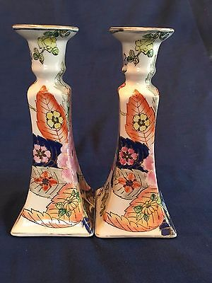 Vintage Pair Chinese Porcelain Candle Stick Holders Hand Painted