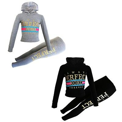 "Girls Kids ""Perfect XOXO"" Hooded Top & Bottom Set Tracksuit Jogsuit 7-13 Years"