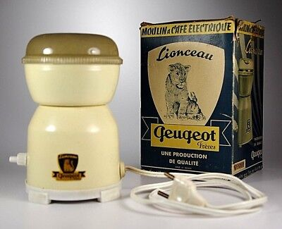 Vintage Electric French Peugeot Frères Spice Pepper Coffee Grinder Mill With Box