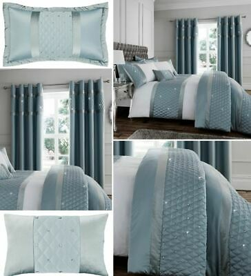 Catherine Lansfield Sequin Cluster Duck Egg Luxury Quilt/Duvet Cover Collection