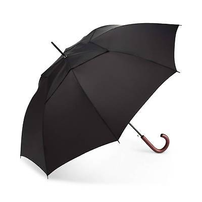 $210 Shedrain Windpro Wood Handle Black Auto Open Close Arc Rain Stick Umbrella