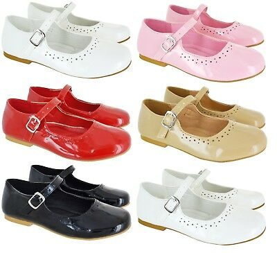 Kids Girls Children Flat Wedding Party School Mary Jane Dolly Pumps Shoes Sz 8-2
