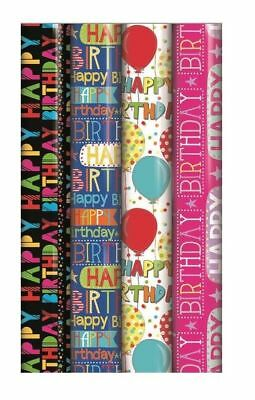 "4 x Rolls Of Gift Wrap Paper Happy Birthday Script Unisex ""Balloons"""